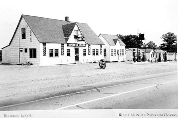 Old postcard of the Bourbon Lodge Cafe & Gas Station and Cabins on Route 66 in Bourbon MO
