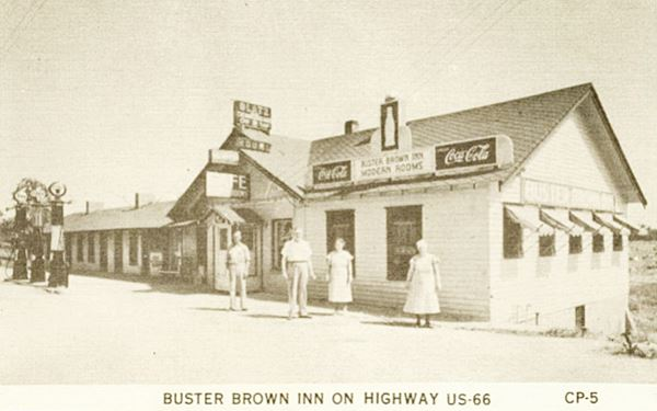 Antique ca. 140s postcard view of Buster Brown Inn in Carthage MO, Route 66