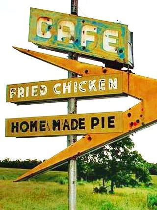 Old Route 66 cafe sign in Lebanon MO