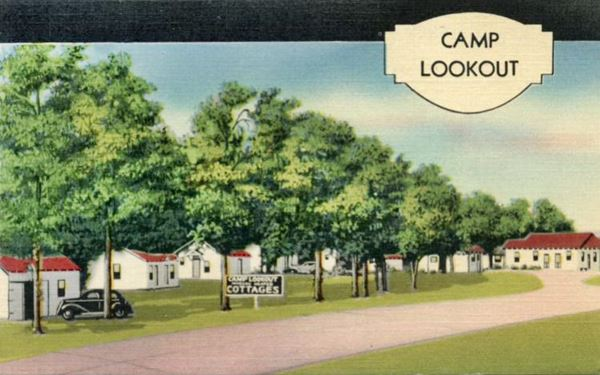 vintage postcard of Camp Lookout