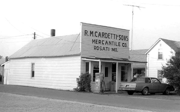 View of the old Cardetti store, Route 66  in Rosati, Missouri