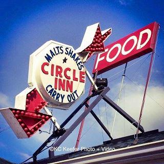 Old neon sign of the Circle Inn Malt Shop in Bourbon Missouri