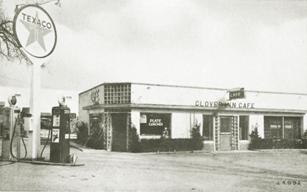 vintage postcard of Clover Inn Cafe & Texaco