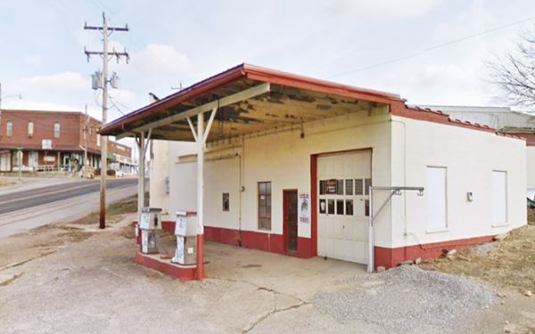 View of an old filling station in Conway