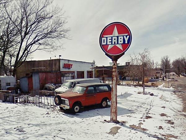 View of the Derby gas station, Route 66 in St. James, Missouri