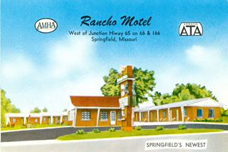 vintage postcard of The Rancho Motel Springfield MO