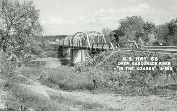 View of the Route 66 Gasconade River Bridge in a vintage postcard 66 in Hazelgreen MO