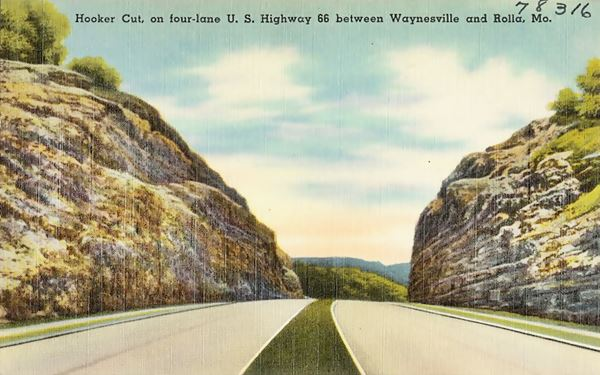 Old Postcard of Hooker Cut, on four-lane U.S. Highway 66 in Hooker MO