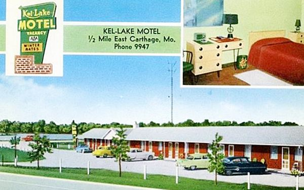 Antique ca. 1950s postcard view of Kel Lake Motel in Carthage MO, Route 66