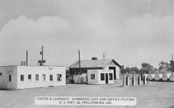 Vintage postcard of the Underpass Cafe and Service Station