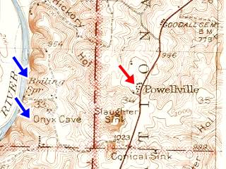 1942 USGS map of Powelville MO