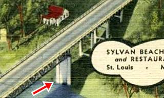 detail of a 1940s postcard showing the original Sylvan Beach Bridge