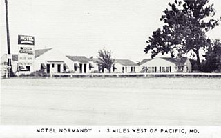 Motel Normandy, Route 66 Gray Summit in an old postcard