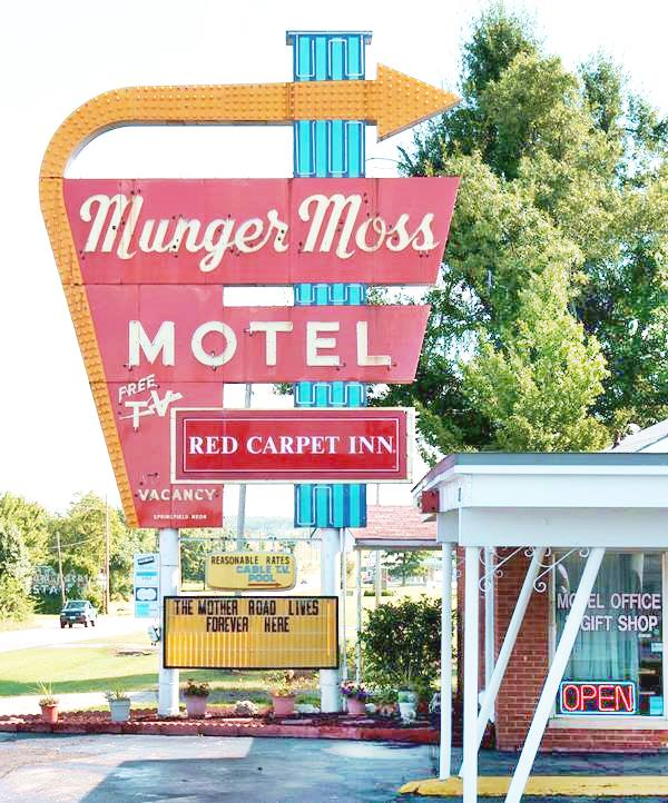 Munger Moss Motel's classic neon sign on Route 66 in Lebanon MO