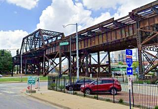 Present view of the old US 66 Municipal Bridge in St. Louis