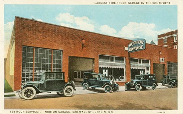 vintage 1920s cars at Nortons in a postcard
