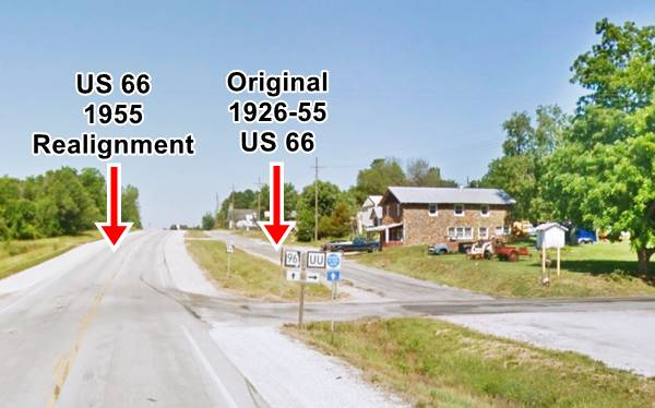 the relocated Route 66 in Phelps MO