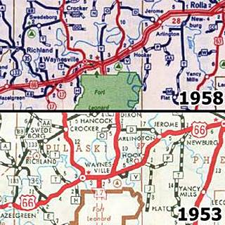 1953 and 1958 roadmaps of US 66 near Devils Elbow