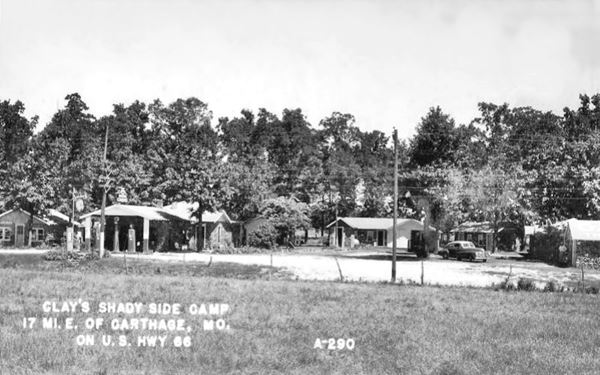 Antique ca. 1940s postcard view of Shady Side Camp in Rescue MO, Route 66