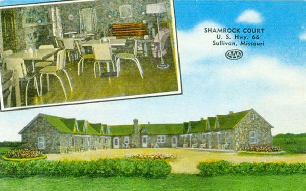 Vintage Postcard Of The Shamrock Motel On Route 66 In Sullivan Missouri