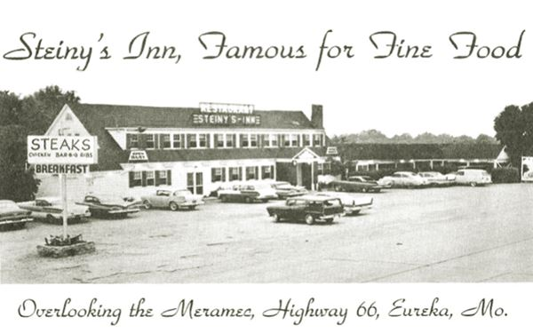 1950s Postcard of the Bridghead Inn (Steiny's Inn) on Route 66 in Route 66 State Park MO