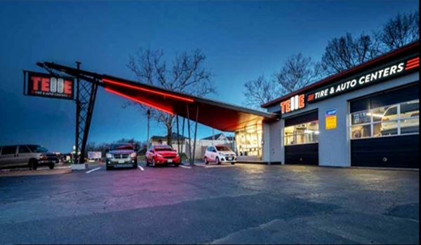 1960s Phillips gull wing gas station at night