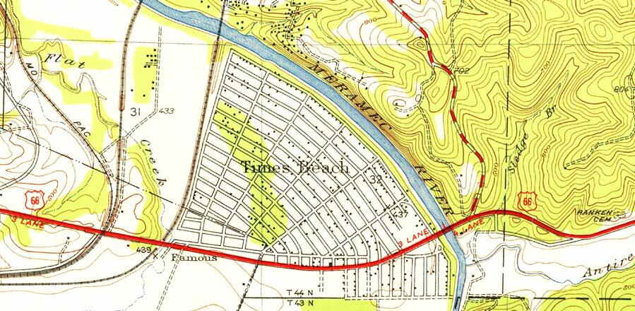 1954 USGS map of Times Beach and Route 66, Missouri