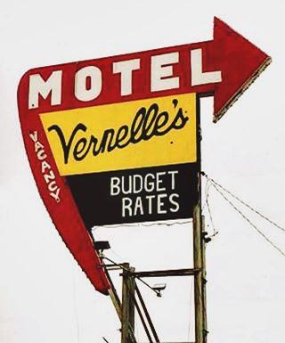 Vernelle's motel Route 66 neon sign in Newburg MO
