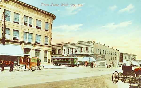 Webb City downtown in a 1913 postcard