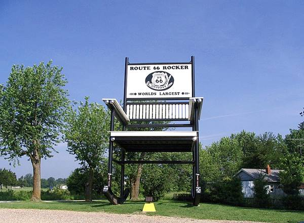 View of the world's largest rocking chair, Route 66 in Fanning, Missouri