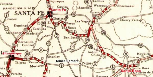A 1927 map of Route 66, New Mexico
