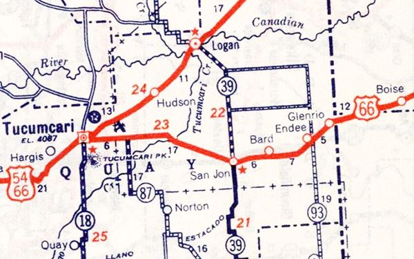 1939 Road Map of Route 66 near Endee, New Mexico