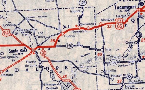 1939 Road Map of Cuervo, New Mexico