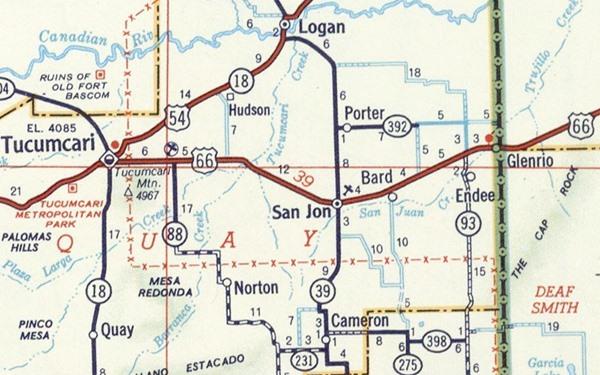 1956 Road Map of Glenrio to Tucumcari, New Mexico