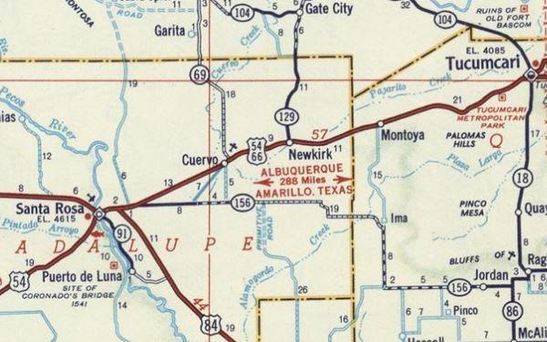 1956 Road Map of Tucumcari - Santa Rosa, New Mexico