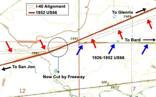 map showing how the 1952 alignment of US 66 entered San Jon