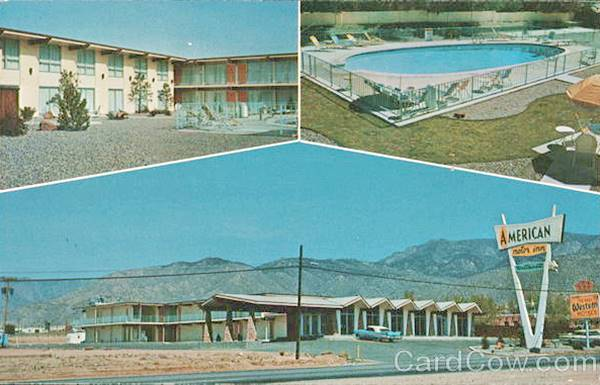 Vintage 1950s postcard of the American Motor Inn on Route 66 in Albuquerque NM