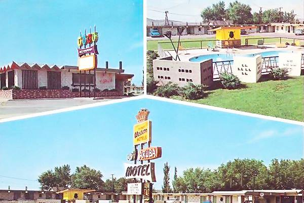 vintage postcard of Aruba Motel, Tucumcari NM