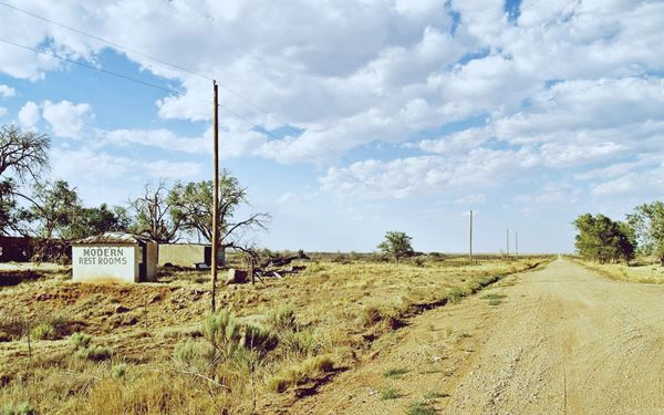 """dirt surfaced Route 66 and the """"outhouse bathroom"""""""