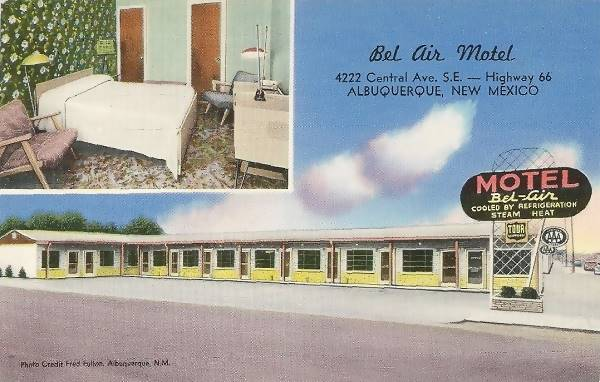 Vintage 1950s postcard of the Bel Air Motel on Route 66 in Albuquerque NM