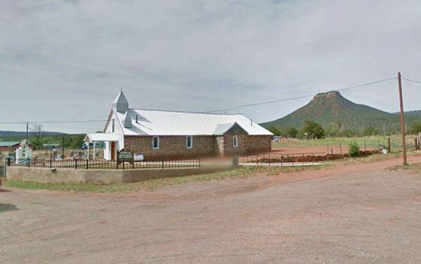 Santa Rita Chapel and Starvation Point, Bernal, New Mexico