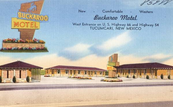 vintage postcard of Buckaroo Motel, Tucumcari NM
