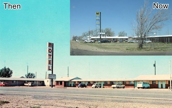 Same view in 1960s and now of motel and sign
