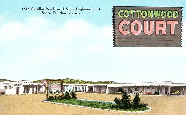 Postcard of the Cottonwood Court Motel, Santa Fe NM