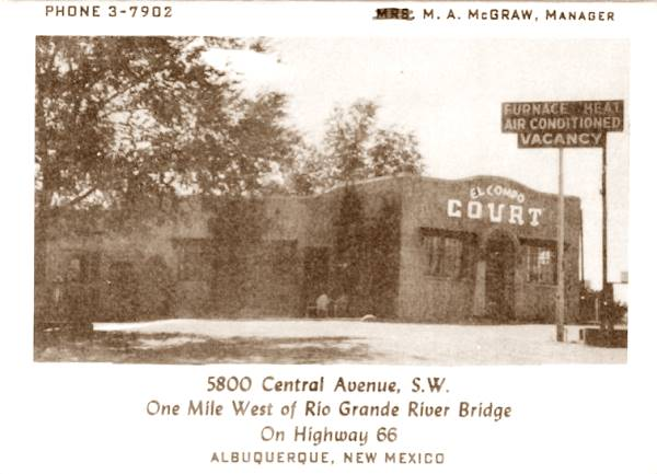 Vintage 1950s postcard of the El Campo Tourist Court on Route 66 in Albuquerque NM