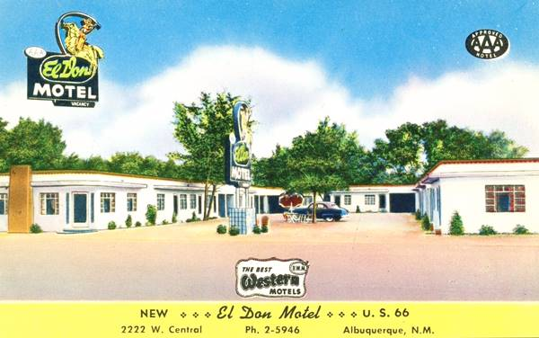 Vintage 1950s postcard of the El Don Motel on Route 66 in Albuquerque NM