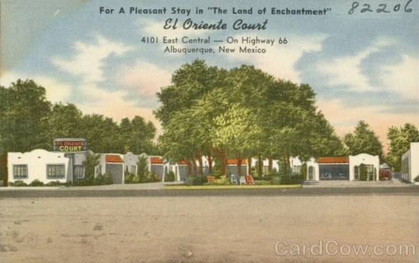 Vintage 1940s postcard of the El Oriente Auto Court on Route 66 in Albuquerque NM