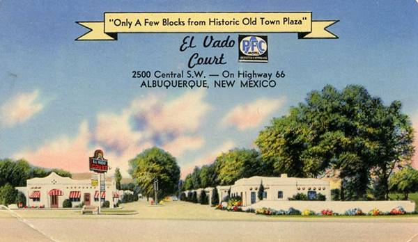 Vintage 1950s postcard of the El Vado Court Motel on Route 66 in Albuquerque NM
