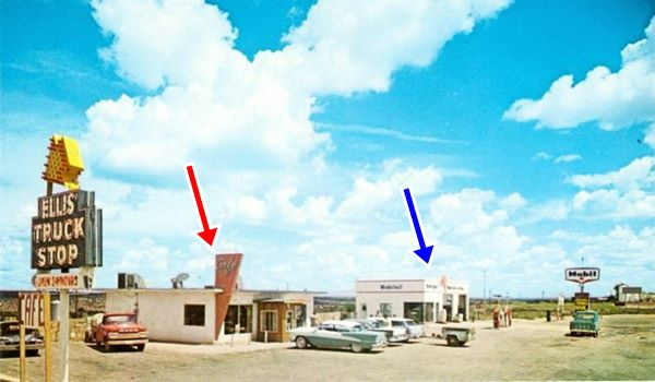 vintage color postcard showing the truck stop and a Mobil gas station