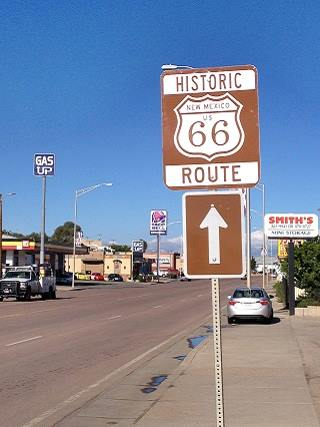 Historic Route 66 road sign in Gallup